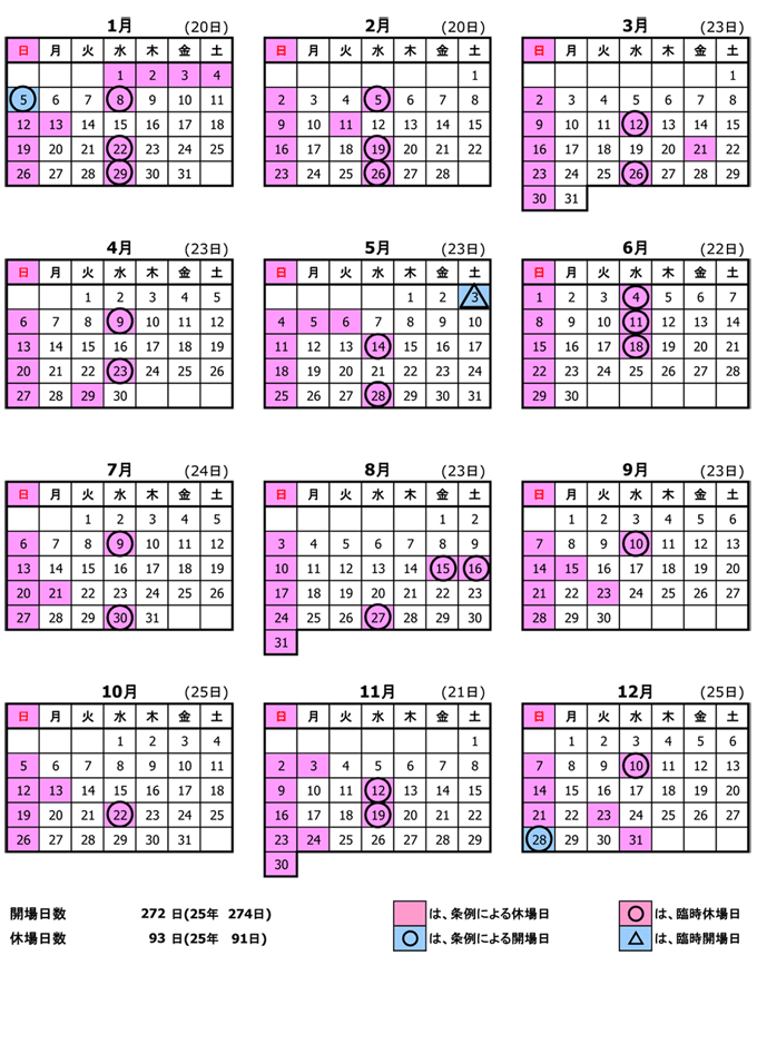 2014年市場カレンダー